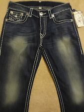 TRUE RELIGION RICKY Super T Natural Blue Fade Jeans 36 x 33 Serene Meadows $334+