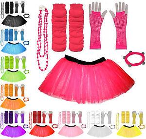 CHILD TUTU SKIRT KIDS FANCY DRESS UV PARTY COSTUMES SET LEG WARMER GLOVES BEADS