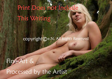 NUDE, BLOND, YOUNG, Hairy, woman in Forest COLOR PHOTOGRAPH DIRECT from ARTIST