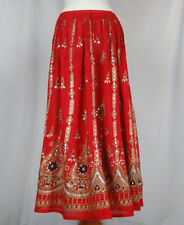 Ladies Indian Boho Hippie Long Sequin Skirt Rayon in RED colour