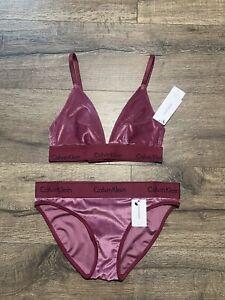 Calvin Klein Underwear Set Triangle Bra Bikini Bottom Burgundy Size Small