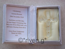 CHRISTENING JESUS Crucifixion BIBLE Set@Floral Box@PERSONALISED GIFT Verse CROSS