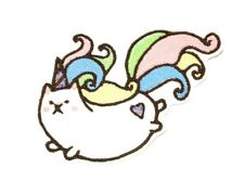 Cat Unicorn kawaii Caticorn embroidered iron on patch 117mm