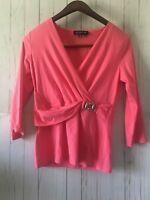 Jones New York Signature Women's Pink 3/4 Sleeve V Neck Top Sz S