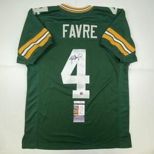 Autographed/Signed BRETT FAVRE Green Bay Green Football Jersey JSA COA Auto