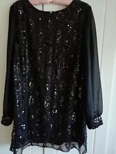 M&Co BLACK LADIES EVENING, PARTY, TUNIC TOP, BLOUSE. SIZE 16