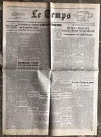 N14 La Une Du Journal Le Temps 11 Et 12 Avril 1942