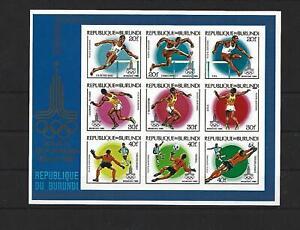 Burundi,1980,Olympic,Moscow,Imperf,Overpr,MNH