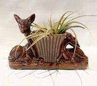 Vintage Deer & Fawn brown Ceramic Vase Planter Brown Tan mid century MCM doe