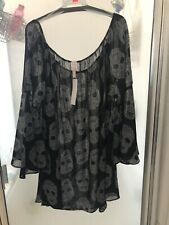 Tunic length 2 X sheer skull blouse bell sleeve