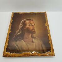"Vintage Wood Lacquer Warner Sallman 1940 Jesus Christ Litho Print Photo 16x12.5"""