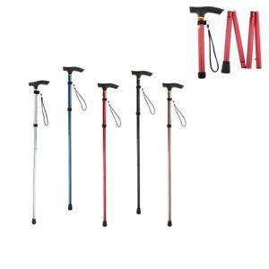 Height Adjustable Folding Walking Stick Aluminum Cane Lightweight Durable