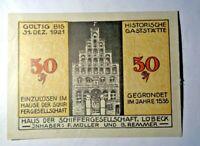 Notgeld 50 Pfennig Schiffergesellschaft Lübeck. Los 415