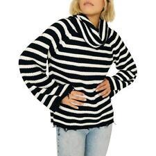 Sanctuary Women's Striped Cowl Neck Fringe Pullover Sweater