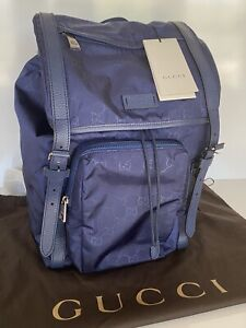 NWT Gucci GG Blue Nylon Backpack Large Light Weight Made in Italy