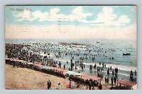 The Bathing Hour On The Beach, Vintage c1910 Postcard
