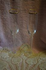 Set of 2 Lenox Crystal Monroe Champagne Flutes With Gold Trim Wedding Toast