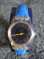Swatch Swiss Women's Watch with Roman Numerals and Blue Leather Band-New Battery
