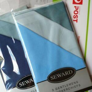 3X Men's Clasic Handkerchiefs Assorted Absorbent Soft 100% Cotton by SEWARD