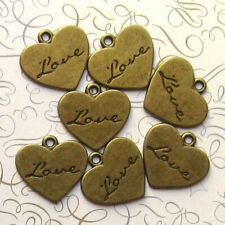 GC1186 20 Heart Antique Gold Tone Charms 2 Sided