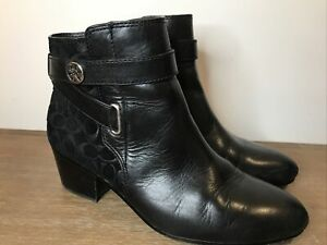 COACH PAGE CALF EMBOSSED SUEDE LEATHER BOOTIES BOOTS BLACK 8 B