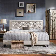 King Bed Frame Upholstered Velvet Fabric Headboard Platform Bedroom Furniture