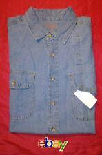 NEW! Boulder Creek Men SZ XLT TALL Denim BLUE JEAN Shirt Button UP Short Sleeve