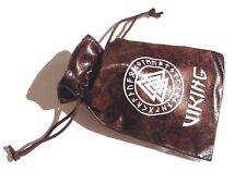 VIKING RUNES brown pleather gift bag jewelry dice pouch drawstring divining 7Z