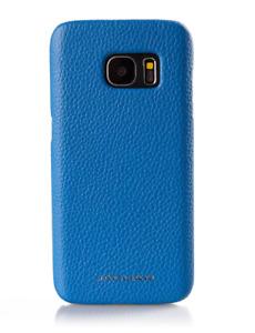 Genuine Jaguar Leather Samsung Galaxy S7 Phone Case In Blue