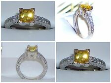 CANARY YELLOW SAPPHIRE DIAMOND WHITE 14K GOLD ENGAGEMENT RING SIZE 6.75 6 3/4