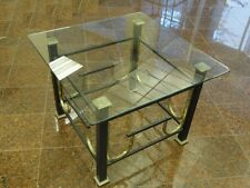 Mid Century Modern Ebonized & Gilt Steel (Iron)  Coffee Side Table w/ Glass Top