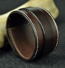 Charm Classic Vintage Wide Genuine Leather Bracelet Wristband Cuff All Brown HOT