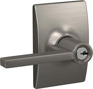 SCHLAGE F51A LAT 619 CEN Latitude Lever Century Trim Keyed Entry Lock Satin Nick