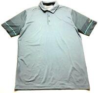 Nike Golf Tour Performance Mens Gray Striped Short Sleeve Polo Shirt Size Medium