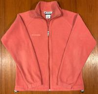 Columbia Womens Medium Fleece Jacket Pink Full-Zip Liner Soft Warm Running Pink