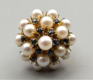 Vtg 10K Gold Cultured Pear Natural Blue Sapphire Cluster Ring Sz 5.75 Sputnik