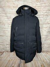 Rainforest Mens L Down Filled Puffer Jacket Black Parka Hooded Winter Warm