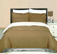 Geneva Embroidered 3 Piece Duvet Set 100% Combed Cotton 300 Thread Count