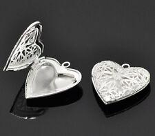 2 Heart Filigree Silver Plated Locket Charms Pendants 26mm x 26mm (014)