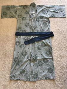 Vtg Japanese Yukata Kimono Sash Belt Robe MEN KAPITAL XL Cotton Made in Japan