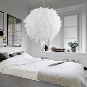 Large White Feather Shade Light Ceiling Pendant LED Bedroom Hanging Night Lamp
