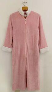 Vintage OSCAR DE LA RENTA Women Robe S/M Pink Fleece Full Zip Lounge Pockets