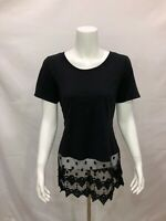 Kathleen Kirkwood Women's Short Sleeves Top with Lace Extender Black 1X Size