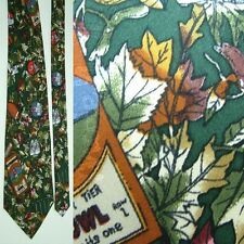 NICOLE MILLER GREEN BROWN FALL LEAVES FOOTBALL SCRIMMAGE SILK NECKTIE NECK TIE