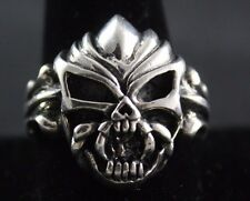 Sterling Silver .925 Skull With Fangs Ring Size 12 Makes Statement