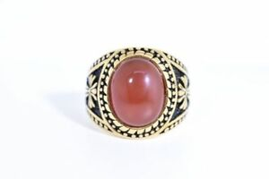 Vintage Gold Stainless Steel Genuine Carnelian Size 10.5 Men's Cross Ring