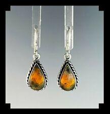 Native American Sterling and Bumblebee Jasper Earrings