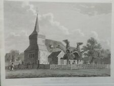 1807 antica stampa; St Mary's Church, Bedfont, Londra