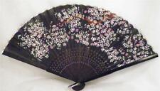 Antique Folding Fan Cherry Blossoms Hand Painted Black Silk Wood Guards Sticks 4
