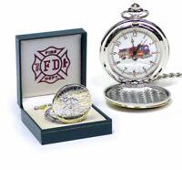 Fire Department Firetruck Collectible Pocket Watch NYFD